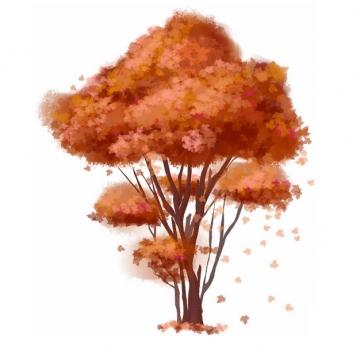 秋天树叶变红的大树凤凰树水彩插画882133png图片免抠素材