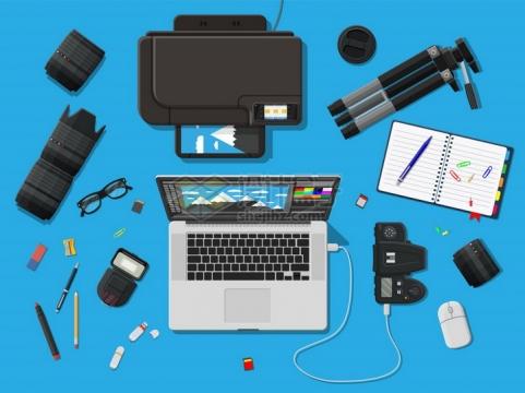 数码相机镜头三脚架闪光灯打印机笔记本电脑等摄影师装备png图片素材