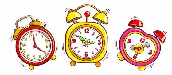 3款正在发出声响的卡通闹钟时钟png图片免抠eps矢量素材