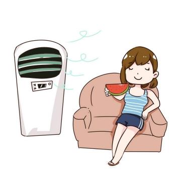 手绘卡通风格坐在沙发上吃西瓜吹空调的少女图片免抠素材