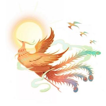 中国画风格金色的太阳和红色的五彩凤凰png图片免抠素材