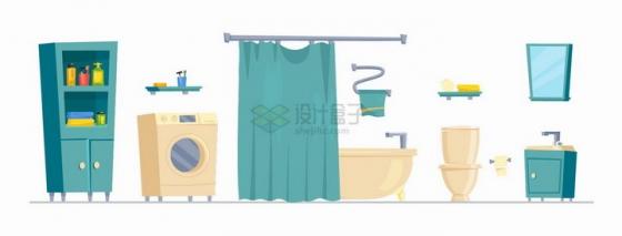 卡通柜子洗衣机浴缸抽水马桶镜子等卫生间设施png图片免抠矢量素材