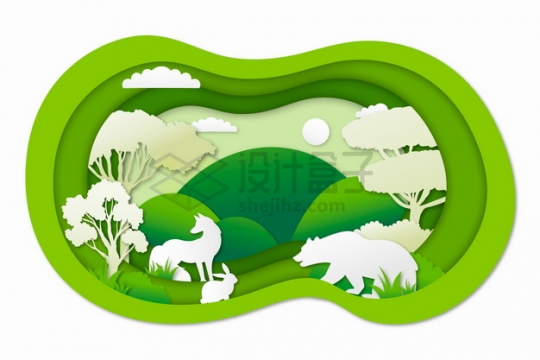 剪纸叠加风格森林中的棕熊狐狸兔子等野生动物png图片素材