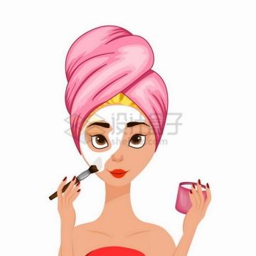 正在化妆涂面膜的卡通美女png图片素材