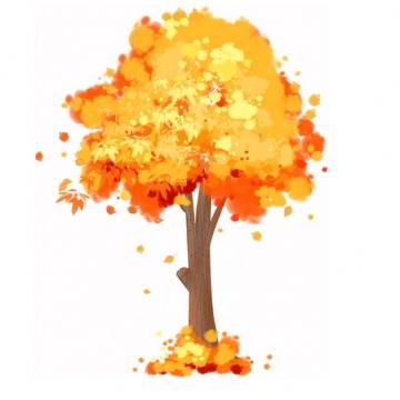 秋天金黄色树叶的大树水彩插画400029png图片免抠素材