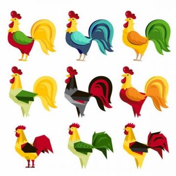 9款彩色卡通公鸡png图片免抠矢量素材