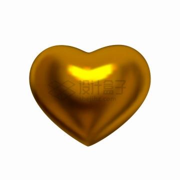 金黄色金属光泽的黄金立体爱心图案png图片免抠矢量素材