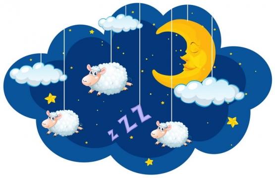 卡通弯弯的月亮和数绵羊睡觉配图图片免抠矢量图素材