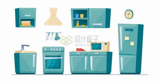 卡通绿色的柜子橱柜洗碗机抽油烟机微波炉电冰箱等厨房用具png图片免抠矢量素材