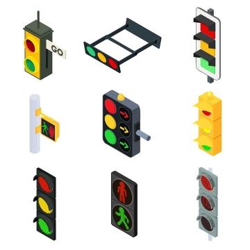9款2.5D风格的红绿灯交通指示灯图片免抠矢量素材
