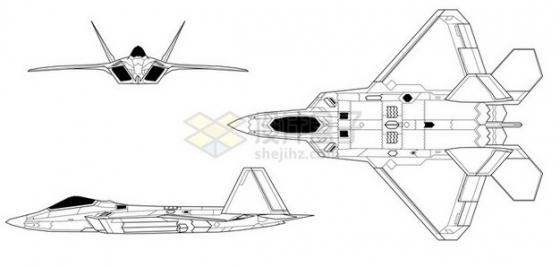 F22猛禽战斗机手绘线条三视图png免抠图片素材