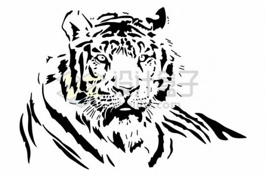 黑色老虎头插画png图片素材
