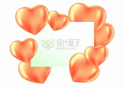 红色心形气球和长方形边框文本框标题框png图片免抠矢量素材