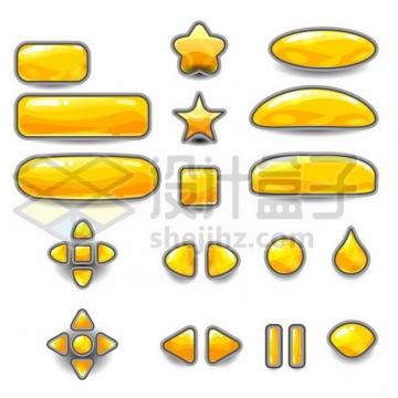 各种圆角方形五角星圆形方向键黄色水晶按钮252672png图片素材