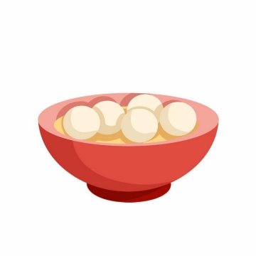 扁平化风格红色碗中的汤圆png图片免抠素材