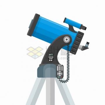 蓝色电动反射天文望远镜侧视图png图片素材