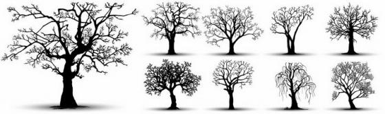 9棵黑色的枯树树木剪影png图片免抠矢量素材
