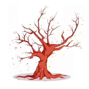 秋天冬天树叶掉光的大树手绘插画812683png图片免抠素材