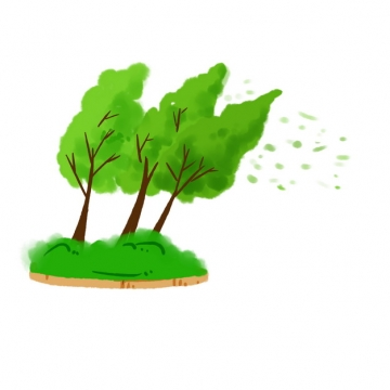 台风大风下的大树水彩插画835492png图片免抠素材