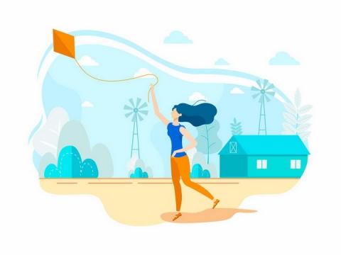 扁平插画风格正在放风筝的长发女孩png图片免抠eps矢量素材