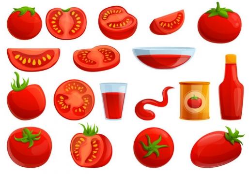 各种鲜红的番茄西红柿和番茄汁番茄酱美味食物图片免抠矢量素材