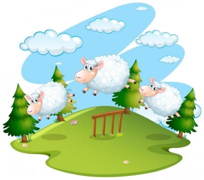 卡通绵羊奔跑在草原上图片免抠矢量图素材