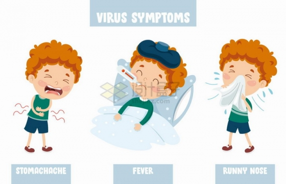 儿童小男孩被病毒感染拉肚子发高烧流鼻涕等病症png图片免抠矢量素材