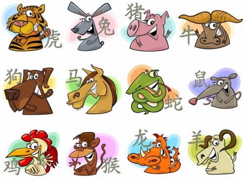 搞笑可爱风格的卡通十二生肖png图片免抠矢量素材