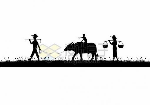 农民牵着水牛耕牛挑着担走在乡间小道上农村剪影943291png图片素材