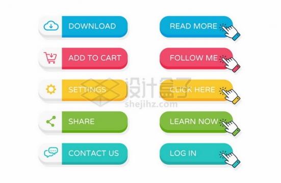 5款糖果色风格彩色网页按钮532941png矢量图片素材