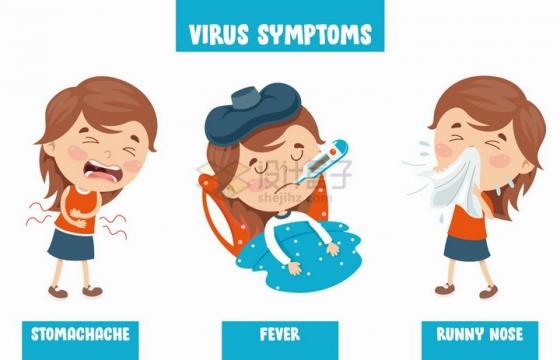 儿童小女孩被病毒感染拉肚子发高烧流鼻涕等病症png图片免抠矢量素材
