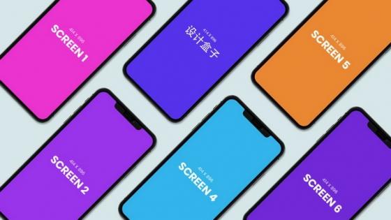 平铺的彩色iPhone手机psd样机图片模板素材