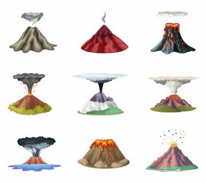 9款正在喷发的火山自然景观png图片免抠矢量素材