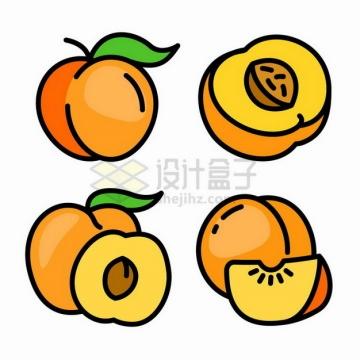 4款MBE风格桃子水蜜桃仙桃手绘插画png图片素材
