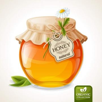 逼真的密封好的蜂蜜罐美食免抠矢量图片素材
