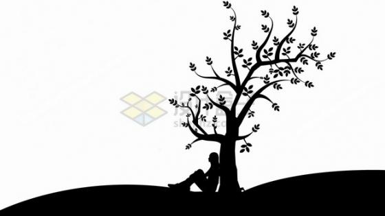 背靠在大树坐下的女孩剪影png图片素材