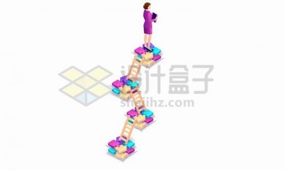 2.5D风格通过梯子爬上去的职场女性象征了女人事业的艰难png图片免抠矢量素材
