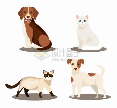 4款卡通宠物狗宠物猫咪png图片免抠矢量素材