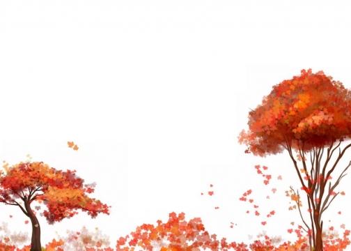 深秋时节变红的大树和树叶以及落叶堆837862png图片素材