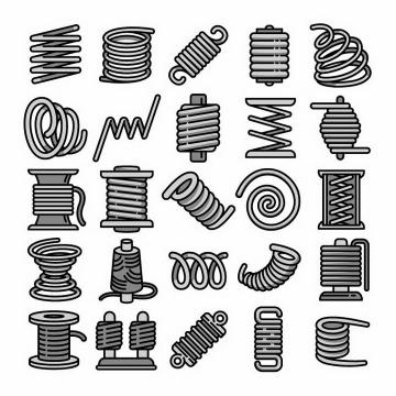 25款各种不同形状的手绘弹簧免抠png图片矢量图素材