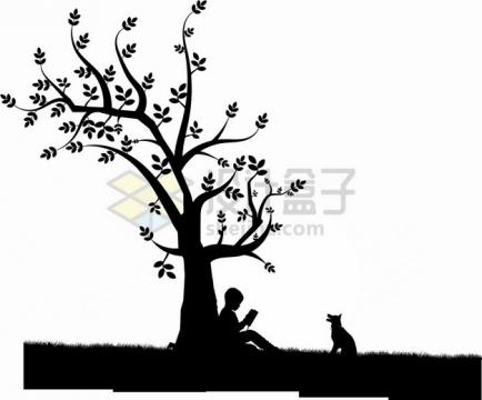 背靠在大树坐下的男孩剪影png图片素材