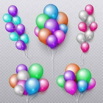 5款逼真的彩色斑点装饰气球免抠矢量图片素材