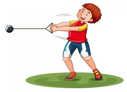 正在玩链球铅球的卡通男孩图片免抠矢量素材