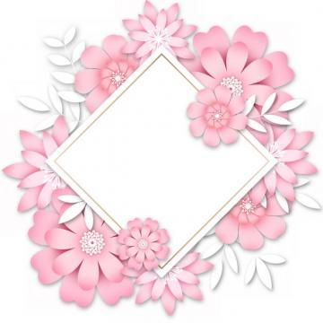 3D立体浮雕风格粉色花朵组成的菱形文本框标题框信息框779978png图片素材