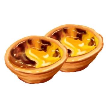两个手绘风格的蛋挞美食png图片免抠素材