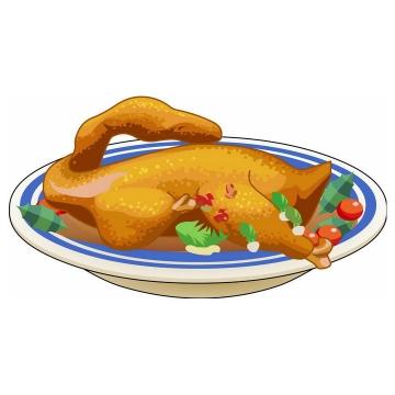 彩绘风格一盘美味的烤鸭png图片免抠素材