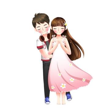 可爱卡通插画风格小清新风格的情侣情人节图片免抠素材