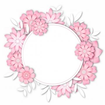3D立体浮雕风格红色花朵组成的圆形文本框标题框信息框400919png图片素材