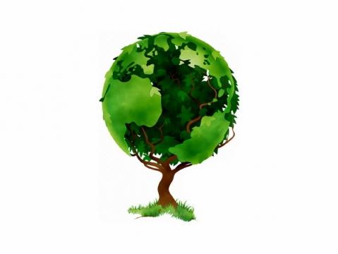 创意大树上长出了一颗绿色地球png图片素材