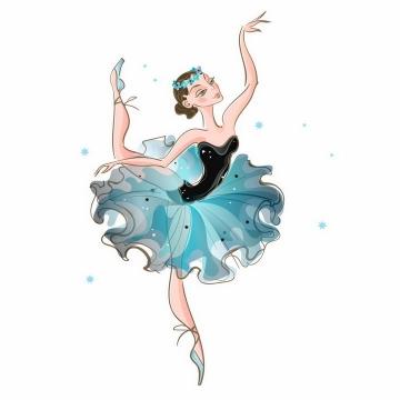 手绘风格正在跳芭蕾舞的卡通优雅美女png图片免抠矢量素材